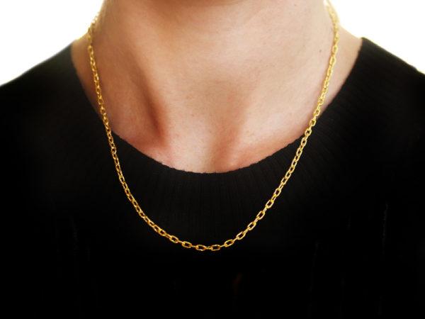 """Elizabeth Locke 17"""" Hammered Very Fine Link Necklace"""