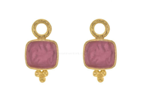 Elizabeth Locke Pink Venetian Glass Intaglio 'Pegasus, Goddess and Moon' Earring Charms