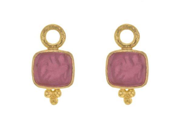 Elizabeth Locke Pink Venetian Glass Intaglio 'Pegasus, Goddess and Moon' Earring Charms thumbnail