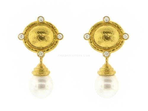 Elizabeth Locke Dome Diamond & South Sea Pearl Drop Earrings