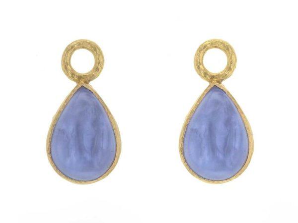 """Elizabeth Locke Cerulean Venetian Glass Intaglio """"Small Pear Shape"""" Earring Charms thumbnail"""