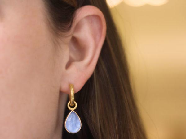 """Elizabeth Locke Cerulean Venetian Glass Intaglio """"Small Pear Shape"""" Earring Charms"""