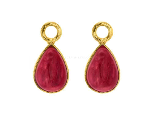 "Elizabeth Locke Pink Venetian Glass Intaglio ""Small Pear Shape"" Earring Charms"
