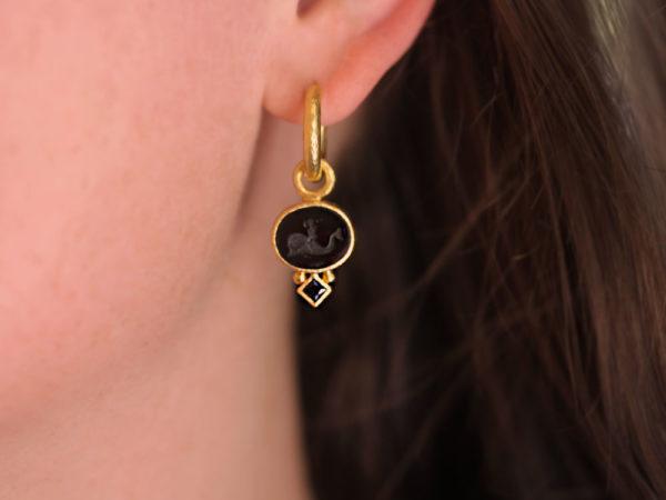 """Elizabeth Locke Black Venetian Glass Intaglio """"Dolphin"""" Earring Charms"""