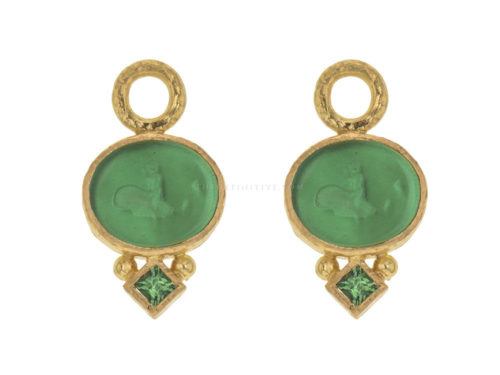 "Elizabeth Locke Green Venetian Glass Intaglio ""Dolphin"" Earring Charms With Princess-cut Tsavorite"