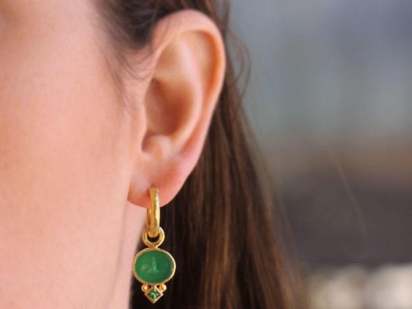 "Elizabeth Locke Green Venetian Glass Intaglio ""Dolphin"" Earring Charms With Princess-cut Tsavorite"
