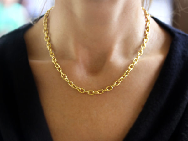"Elizabeth Locke 17"" ""Orvieto"" Hammered Link Necklace"