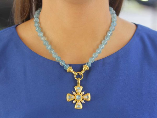 "Elizabeth Locke Aquamarine & Pearl ""Maltese"" Cross Pendant"