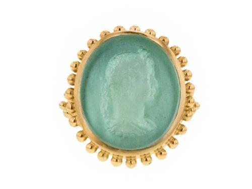 "Elizabeth Locke Nile Venetian Glass Intaglio ""Emperor"" Granulation Ring"
