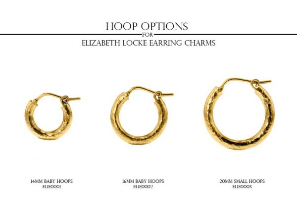 Elizabeth Locke Slightly Domed Gold Teardrop Earring Charms With Gold Triad Bottom model shot #3