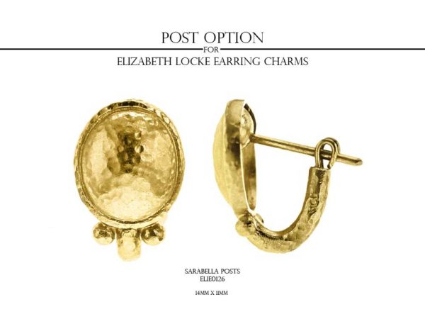 Elizabeth Locke Slightly Domed Gold Teardrop Earring Charms With Gold Triad Bottom model shot #2