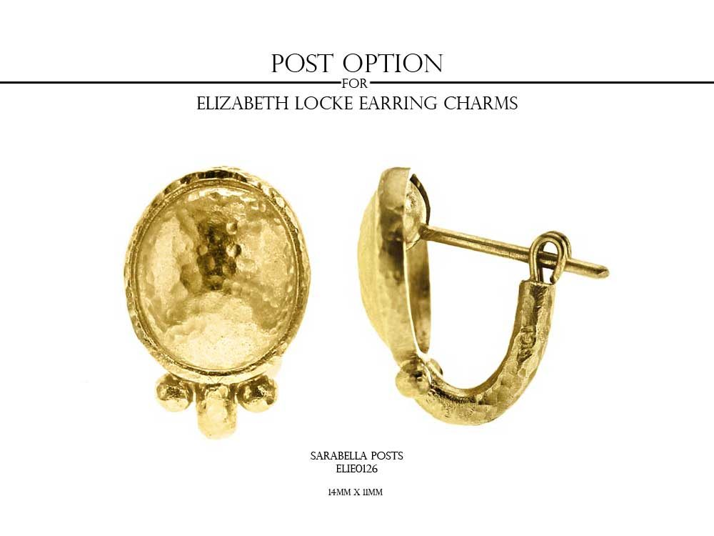 Elizabeth Locke Horizontal Gold Dome Oval Earring Charms With Three Triads