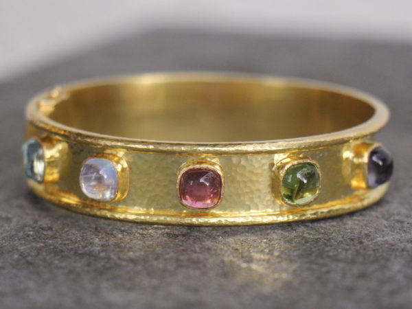 Elizabeth Locke Narrow Flat Bangle With Cushion Cabochon Tutti Frutti Stones model shot #2