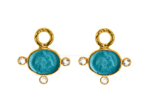 "Elizabeth Locke Teal Venetian Glass Intaglio ""Tiny Lion"" & Moonstone Earring Charms"