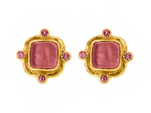 "Elizabeth Locke Pink Venetian Glass Intaglio ""Quadrato Antico"" & Pink Sapphire Post Earrings"