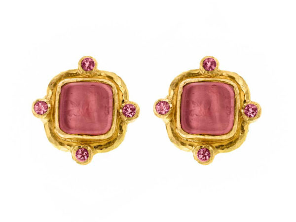 "Elizabeth Locke Pink Venetian Glass Intaglio ""Quadrato Antico"" & Pink Sapphire Post Earrings thumbnail"