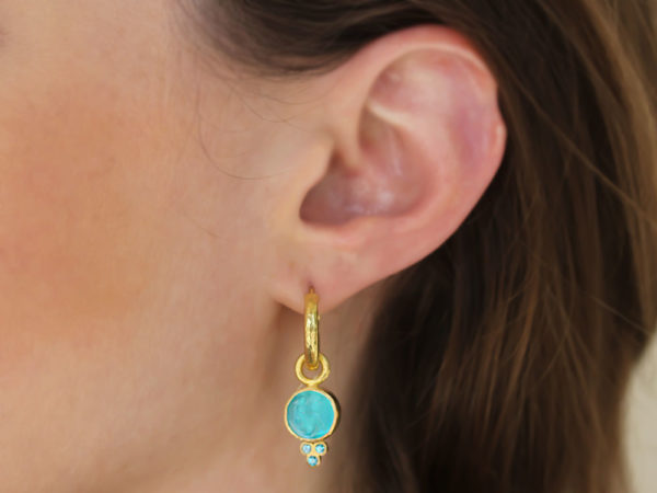 Elizabeth Locke Teal Venetian Glass Intaglio 'Round Cupid' Earring Charms