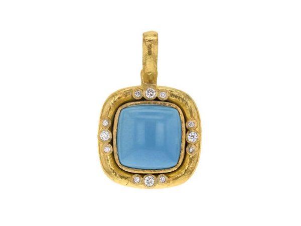 Elizabeth Locke Square Turquoise Pendant With Diamonds On Bezel And Thin Hinged Bale thumbnail