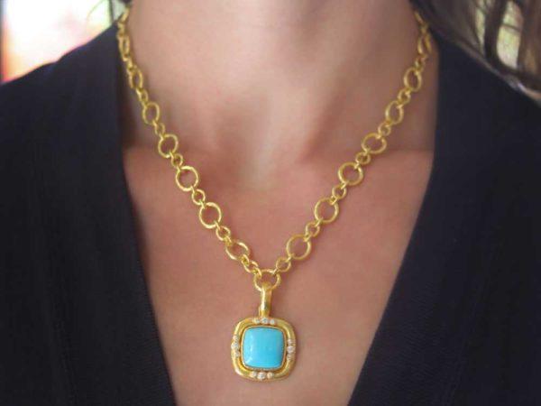 Elizabeth Locke Square Turquoise Pendant With Diamonds On Bezel And Thin Hinged Bale model shot #2