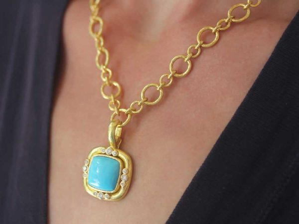 Elizabeth Locke Square Turquoise Pendant With Diamonds On Bezel And Thin Hinged Bale
