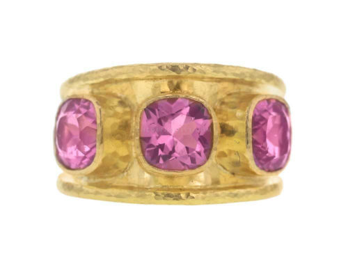 Elizabeth Locke Pink Tourmaline Tapered Cigar Band Ring