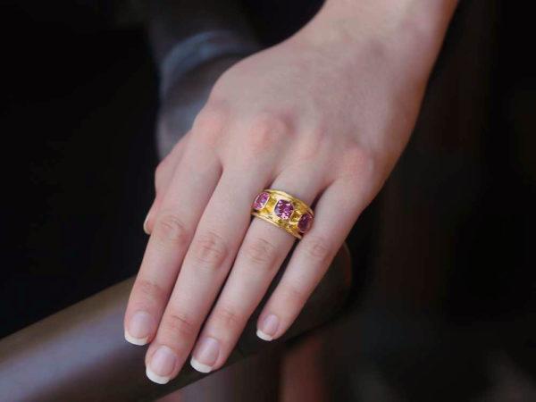 Elizabeth Locke Pink Tourmaline Tapered Cigar Band Ring