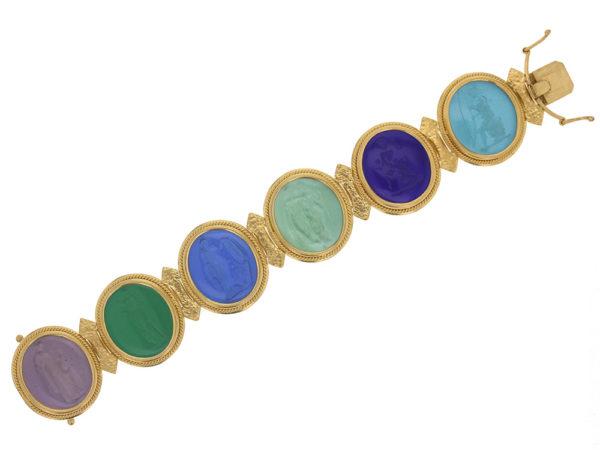 "Elizabeth Locke Venetian Glass Intaglio ""Bright"" Colored Pastel Large Oval Venetian Glass Bracelet model shot #4"