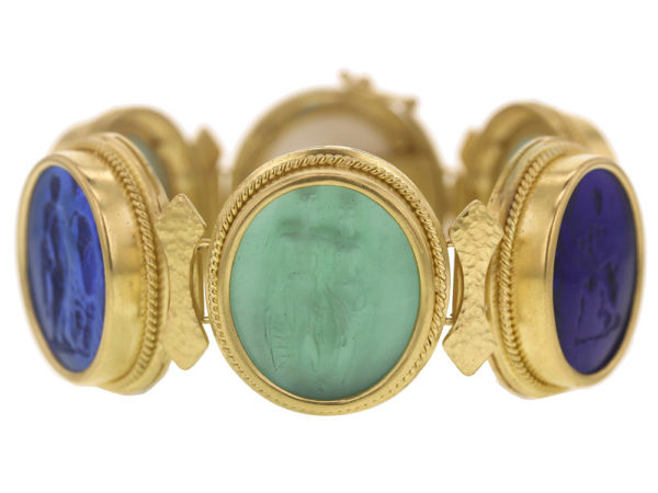 "Elizabeth Locke Venetian Glass Intaglio ""Bright"" Colored Pastel Large Oval Venetian Glass Bracelet thumbnail"