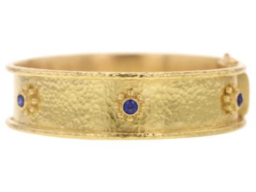 Elizabeth Locke 14.5mm Blue Sapphire Daisy Bangle Bracelet
