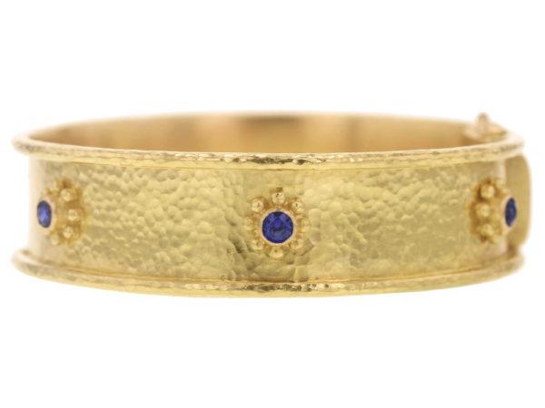Elizabeth Locke Blue Sapphire Daisy Bangle Bracelet thumbnail
