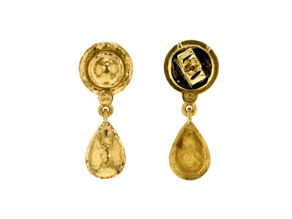 Elizabeth Locke Round Gold Dome And Pear-Shaped Gold Drop Stud Earrings model shot #2