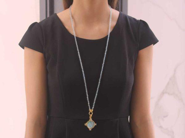 "Elizabeth Locke Light Aqua Venetian Glass Intaglio '""Hound Head"" Pendant model shot #2"