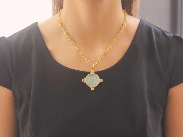 "Elizabeth Locke Light Aqua Venetian Glass Intaglio '""Hound Head"" Pendant"