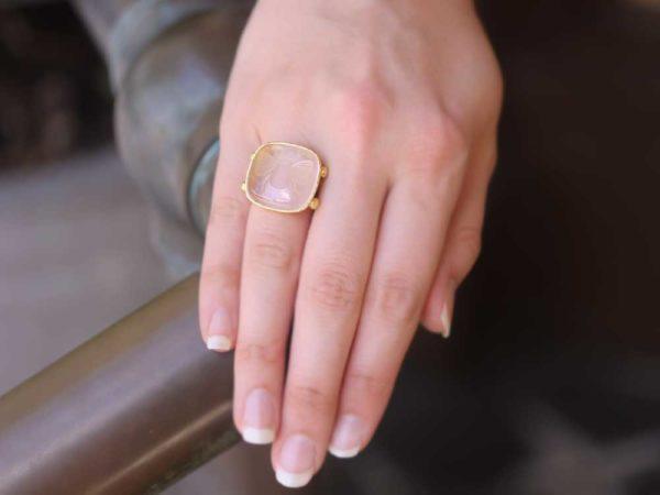 "Elizabeth Locke Rock Crystal ""Bee"" Ring With Split Shank And Dots Of Granulation"