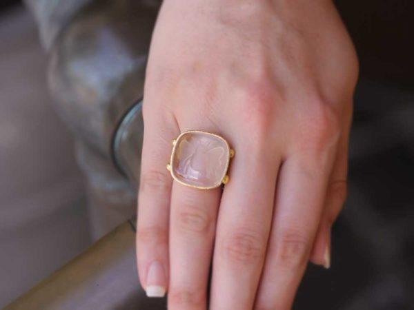 "Elizabeth Locke Rock Crystal ""Bee"" Ring With Split Shank And Dots Of Granulation model shot #2"