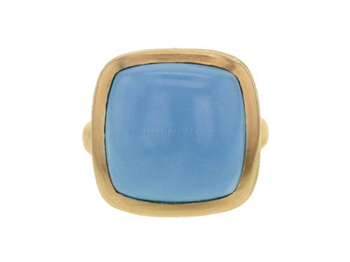 Elizabeth Locke Cushion Turquoise With Granulated Collar & Narrow Shank Ring