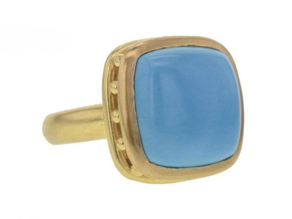 Elizabeth Locke Cushion Turquoise With Granulated Collar & Narrow Shank Ring model shot #2