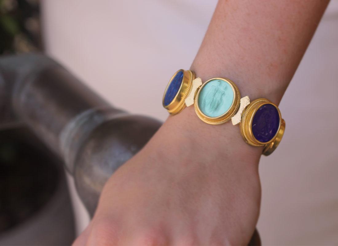 "Elizabeth Locke Venetian Glass Intaglio ""Bright"" Colored Pastel Large Oval Venetian Glass Bracelet model shot #3"