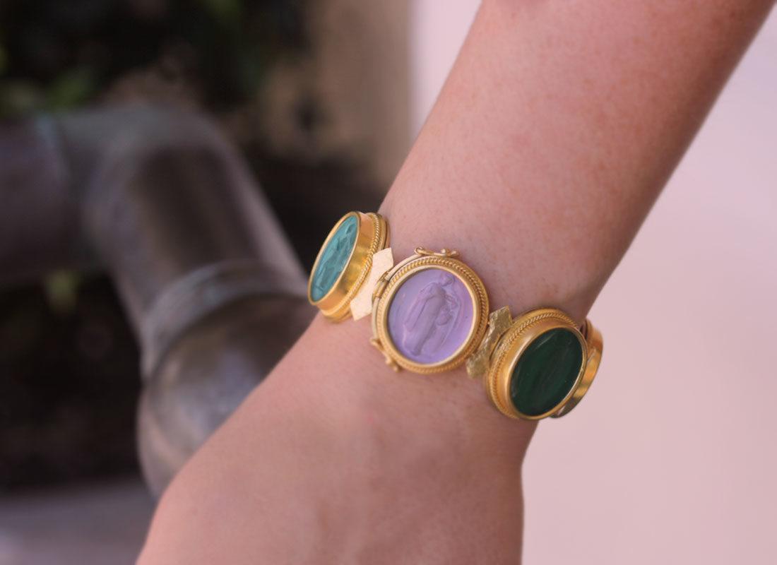 "Elizabeth Locke Venetian Glass Intaglio ""Bright"" Colored Pastel Large Oval Venetian Glass Bracelet model shot #2"