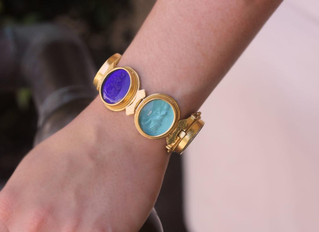 "Elizabeth Locke Venetian Glass Intaglio ""Bright"" Colored Pastel Large Oval Venetian Glass Bracelet model shot #1"