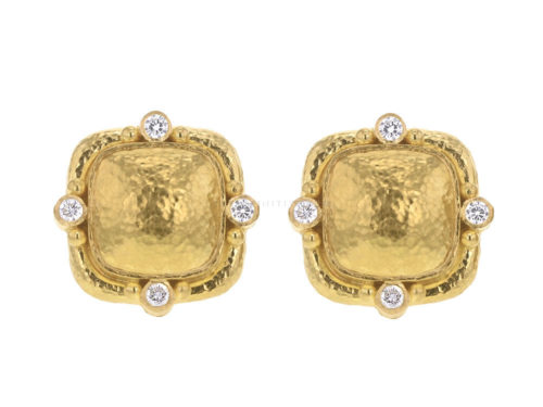 Elizabeth Locke Cushion Dome Earrings With Diamonds & Side Gold Dots On Godron Bezel