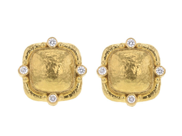 Elizabeth Locke Cushion Dome Earrings With Diamonds & Side Gold Dots On Godron Bezel thumbnail