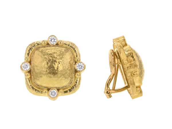Elizabeth Locke Cushion Dome Earrings With Diamonds & Side Gold Dots On Godron Bezel model shot #3