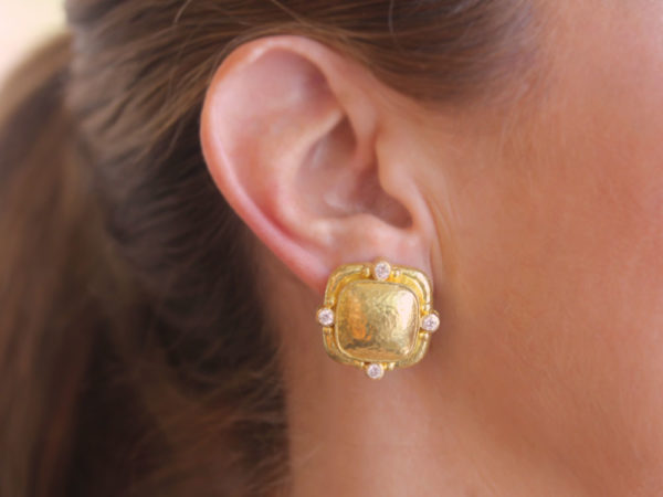Elizabeth Locke Cushion Dome Earrings With Diamonds & Side Gold Dots On Godron Bezel model shot #2