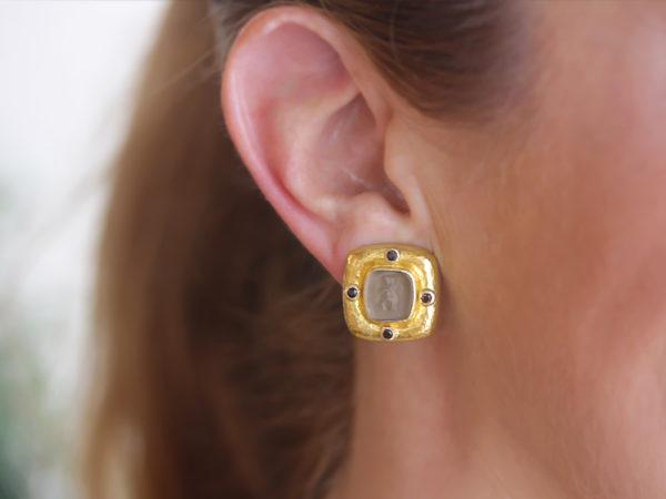 Elizabeth Locke Bronze Venetian Glass Intaglio 'Square Putto' Earrings