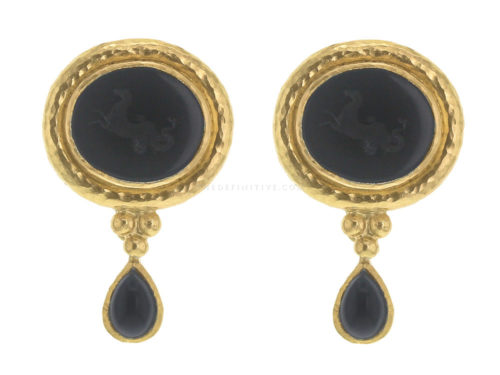 "Elizabeth Locke Black Venetian Glass Intaglio ""Hypocanthus"" Earring With Detachable Pear-Shaped Onyx Drops"