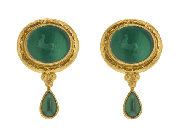 "Elizabeth Locke Pine Venetian Glass Intaglio ""Hypocanthus"" Earring With Detachable Pear-Shaped Chrome Diopside Drops thumbnail"