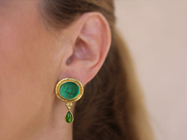 "Elizabeth Locke Pine Venetian Glass Intaglio ""Hypocanthus"" Earring With Detachable Pear-Shaped Chrome Diopside Drops"