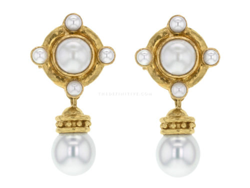 Elizabeth Locke Pearls Set On Godron With Detachable South Sea Pearl Drop Earrings