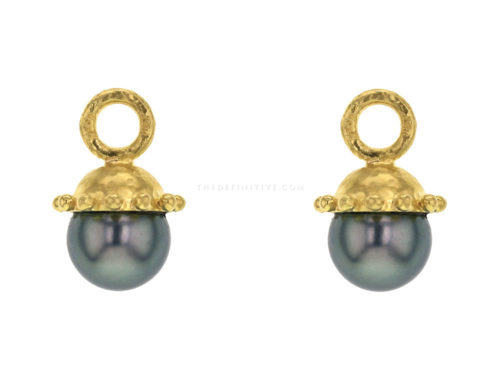 Elizabeth Locke Small Black Tahitian Pearl Drops For Hoops